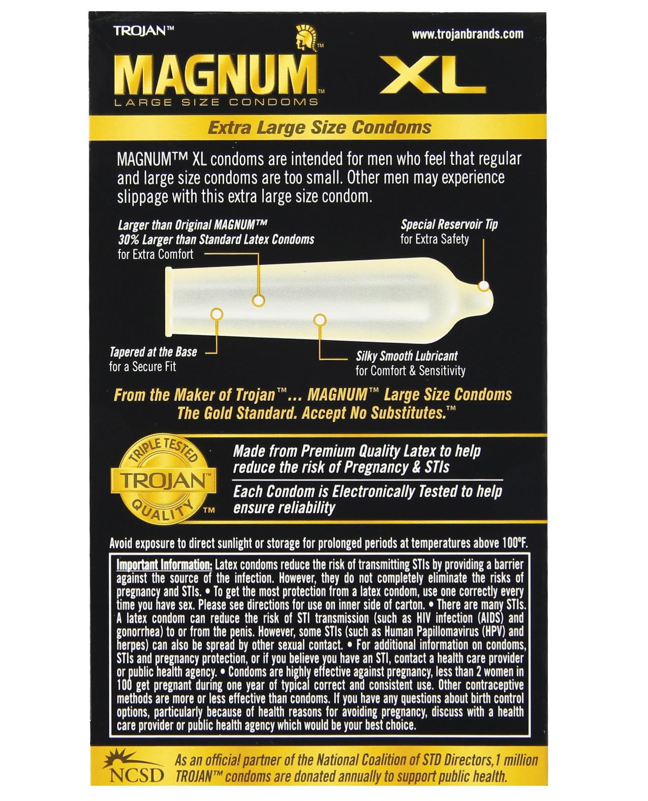 Trojan Magnum XL Lubricated Condom - Box of 12 - Caliente