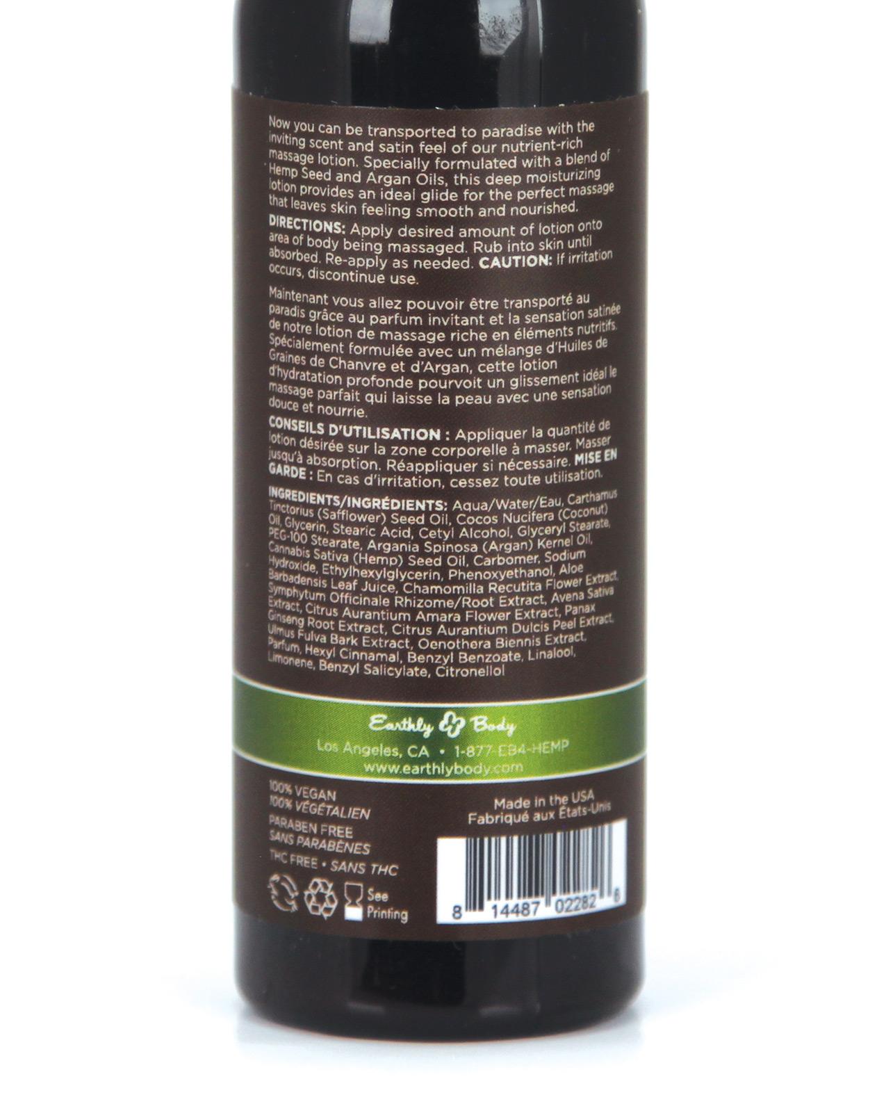 Earthly Body Hemp Seed Massage Lotion - 2 oz Skinny Dip